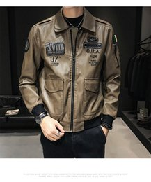 thinnest warmest clothing Canada - 2019 Brand Leather Clothing Mens Jacket Coat Fall Winter Biker Bomber male Jacket thin men's Jackets Men PU Warm coats 03
