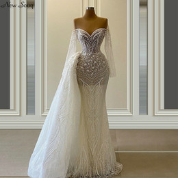 wedding dresses removable sleeve UK - Gorgeous Mermaid Long Sleeve Lace Wedding Dresses with Removable Train Overskirts 2020 Illusion O Neck Bridal Gowns
