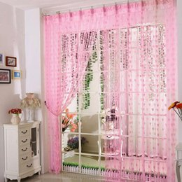 green white curtains UK - Heart line curtain romantic heart-shaped string sheer curtains for living room bedroom curtain