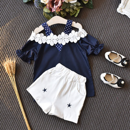 $enCountryForm.capitalKeyWord NZ - Kids Clothes Set 2PCS Toddler Girls Clothes Set Summer Baby Girl Clothes Off-shoulder Tops+Shorts Hot Pant Outfits 2-6T