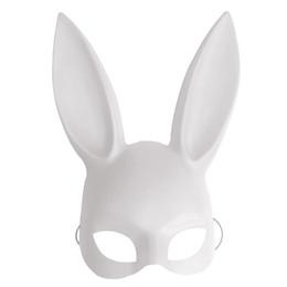 Black Bunny Mask Australia - Black White Women Girl Sexy Rabbit Ears Mask Cute Bunny Long Ears Bondage Mask Halloween Masquerade Party Cosplay Costume Props