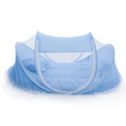 types bags UK - 4pcs set Portable Type Kids Comfortable Babies Travel Bed Sealed Mosquito Net Mattress Pillow Mesh Bag