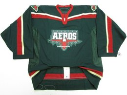 Chinese  Cheap custom HOUSTON AEROS AHL GREEN TEAM ISSUED 6100 HOCKEY JERSEY stitch add any number any name Mens Hockey Jersey XS-6XL manufacturers