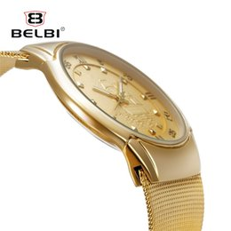 best mens gold watches UK - BELBI Ultra thin Men Business Watch Male Gold Metal Bracelet Clock Mens Japan Quartz Watches Best brand Luxury Men Wristwatch