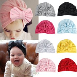 $enCountryForm.capitalKeyWord Australia - Girls Boys Baby Child Bowknot Solid Color Stretchy Turban Casual Hat Hair Head Wrap Cap