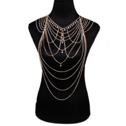 $enCountryForm.capitalKeyWord UK - Pearl Tassel Body Chain Shoulder Chain Diamond Multi-layer Chains Personality Exaggerated Long Necklace Chains Nightclub Tassel Necklace