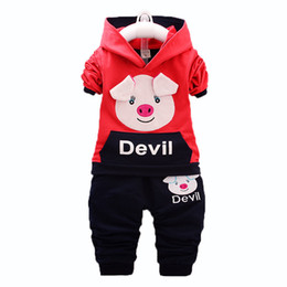 Autumn Children Set Baby Girl Toddler Australia - Children Boys Girls Clothing Suits Spring Autumn Baby Cartoon Pig Hoodies Pants 2Pcs Sets Kids Brand Clothes Toddler Tracksuits