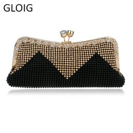 denim color handbags 2019 - Gloig Wedding Bridal Beaded Women Evening Bag Chain Shoulder Handbags Mixed Color Soft Rhinestones Clutch Evening Bag Y1