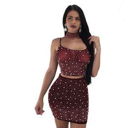 $enCountryForm.capitalKeyWord Australia - l Sheer Mesh Pearls 3 Piece Set Women Sexy Night Club Outfits Choker+spaghetti Straps Lace Up Backless Crop Top+mini Skirt