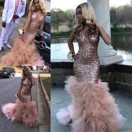 Sexy Necked Girls Online Shopping Sparkle Rose Gold Sequined Mermaid Prom Dresses Black Girls K19