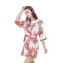 $enCountryForm.capitalKeyWord UK - Bridesmaid Robe Bride Silk Sexy Women Short Satin Wedding Kimono Robes Sleepwear Nightgown Dress Woman Bathrobe Floral Robe