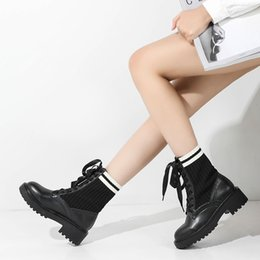 lady snow boots mid calf Australia - 2018 Casual Shoes Women Fashion Brand Martin Boots Lady chaussure Autumn New Female footware Cross-tied Mid Calf Boots
