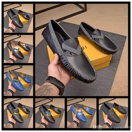 Discount peep toe black evening shoes - A6 10 style FDbrands Men's Flat Loafers Shoes Men Black Studs Suede Moccasin Shoes Evening Party Dress Walking