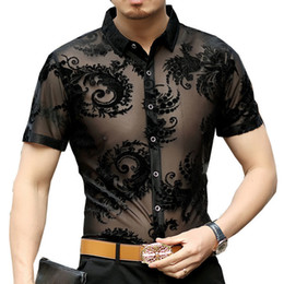 polyester short sleeve shirts Australia - Paisley Patter Flower See Through Shirt 2019 Short Sleeve Summer Sexy Prom Transparent Shirt Camisa Masculina Chemise Homme