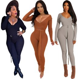 d518b59547 Sexy bodysuit tracksuit rompers womens jumpsuit skinny long sleeve v-neck  striped ribbed slim sashes overalls combinaison femme