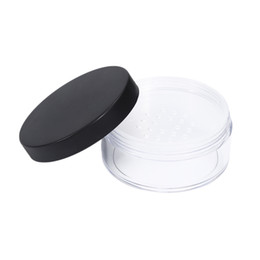Chinese  50g Plastic Empty Loose Powder Pot With Sieve Cosmetic Makeup Jar Container Handheld Portable Sifter with Black Cap manufacturers