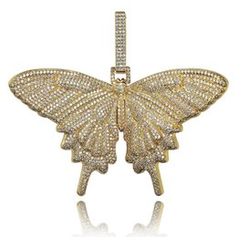 Wholesale New Iced Out Insect Multicolor Butterfly Pendants Necklaces Micro Pave Cuban Zircon Stone Pendant Necklace Hip Hop Gift