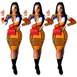 Modern Girls Clothing Australia - Women Summer Bodycon Dresses Printing Panelled Long Sleeve V-neck Dress Knee Length Skirts Night Club Clothes Girls Party Wear A41702