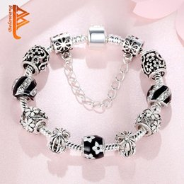 $enCountryForm.capitalKeyWord Australia - Hotstone88 Authentic Tibetan Silver Field of Daisy Flower Charm Bracelet Fit Bracelets Bangles for Women Jewelry Gift 18-20cm Free Shipping