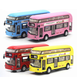 Fitness Christmas Gifts Australia - 1 pcs Alloy Double Children Layers Tourist Bus Pull Back Model Car Fitness Kid Educational Toys For Children Christmas Gifts