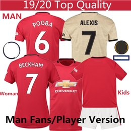 Wholesale Pogba Alexis Lukaku Beckham soccer jersey Man Home Away woman kids Jersey Shorts Thailand Player version utd soccer tracksuit S XXXL