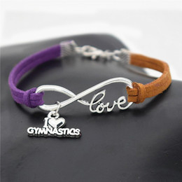 jewelry gymnastics Australia - Hot Bohemian Silver Infinity Love Gymnastics Sports Pendant Bracelets Women Men Exquisite Purple Brown Leather Suede Rope Charm Jewelry Gift