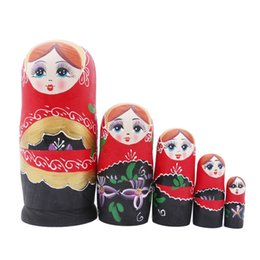 Russian Toy Dolls UK - Cute Wooden Bauhinia Matryoshka Doll Handmade Crafts Russian Dolls Toy For Baby Gifts