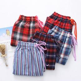 3c6421ff3fed 2019 Spring Autumn Women Cotton sleep bottoms Female loose plus size nighty  trousers sleepwear pyjama Ladies Plaid pajama pants
