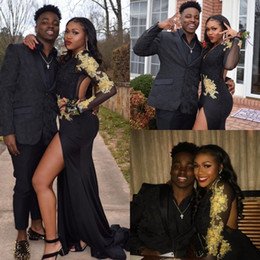 Black Long Dresses Slit Australia - Sexy Gold Lace Appliques Black Mermaid Prom Dresses With Long Sleeves Deep V-neck Trumpet Slit Formal Occasion Party Evening Gowns