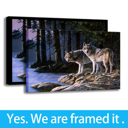 $enCountryForm.capitalKeyWord Australia - Animal Art Print on Canvas Home Decor Forest Deer and Wolves Story - Ready To Hang - Framed