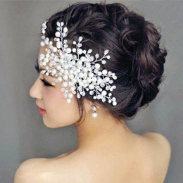 Relodi Women Wedding Hair Accessories Bridal Pearl Crystal Tiara Wedding  Decoration Hair Comb Jewelry Fashion Hairpins SP0103 d621d603f125