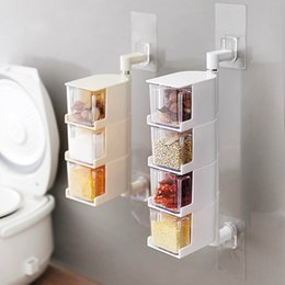 Kitchen Storage Box Set Australia - Vintage Clear Acrylic Rotatable Kitchen Spice Storage Container Rack Wall Plastic Transparent Set tool Spice Jar Drawer type spice box