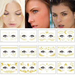 $enCountryForm.capitalKeyWord NZ - Gold Temporary Female Face Metal Tattoo Sticker Buterfly Moon Scale Chain Jewelry Flash Tattoos Body Art Electronic Syllable Festival Makeup