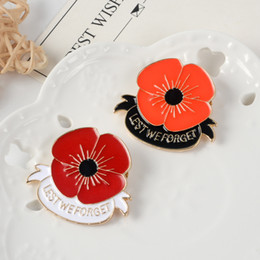 $enCountryForm.capitalKeyWord Australia - LEST WE FORGET Remenbrance Day Red Poppy Flower Brooch Brooches Charm Anniversary Brooch Pins Corsage Ornament