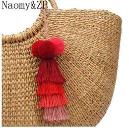 $enCountryForm.capitalKeyWord Australia - Naomy&ZP Tassel Keychain Keyrings Bag Charms Jewelry Big Key Chain Key Holder Boho Handmade Pom Pom Vintage Fashion Accessories