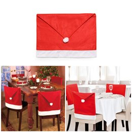 santa claus chair covers Australia - 1pcs Santa Claus Cap Chair Cover Christmas Dinner Table Party Red Hat Chair Back Covers Xmas Decoration 2017