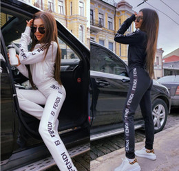 Wholesale women winter sports sets for sale – designer 2019 Women s Sportswear Hoodie And Sweatshirts Black White Autumn Winter Jogger Sporting Suit Women s Sweat Suits Tracksuits Set