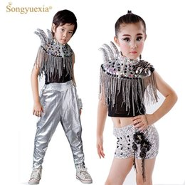 5f0206de64b Children Sequin Modern Jazz Dance Costumes Hip Hop Stage Mounts Drums Group  Clothes Catwalk Horns Kids Ballroom Performace Dress