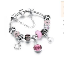 Stopper Beads Pandora Bracelets Australia - Fits Pandora Charm bracelets Pink Sweet mother Dangle Heart Pearl Pendants Austrian Crystal & Cherry Flower Stopper beads Snake Chain Bangle