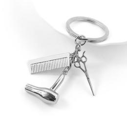 $enCountryForm.capitalKeyWord Australia - Decorative Keychains Hairdressers Gift Comb Scissors Hair Dryer Car-styling Interior Accessories Car Key Rings Keyring 1pcs