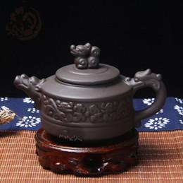 Old Teapots UK - Old Chinese purple sands teapot handmade tea set manufacturers direct flat well column teapot gifts yixing teapot tea crafts gifts