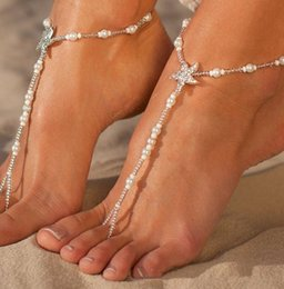 Chains Checkered NZ - Fashion Pearls Barefoot Beach Sandals For Weddings Crystals Starfish Anklets Chain Cheap Toe Ring Bridal Bridesmaid Foot Jewelry