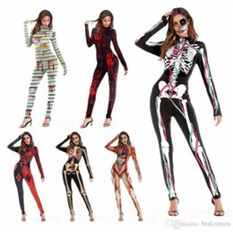scary cosplay Canada - Digital Printed Jumpsuits Cosplay Catsuit Costumes Halloween Scary Props Adult Dancing Party Stagewear
