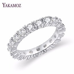 unique titanium wedding rings NZ - Jewelry White Color Inlay Cubic Zirconia Unique Shaped Ring for Women Wedding Engagement Size