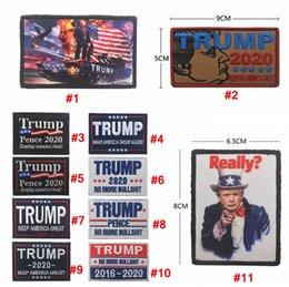 cap badges 2019 - Embroidery Trump 2020 cap Patch magic sticker Armband Make America Great Again Badge Hook loop Brassard Combat Favor AAA
