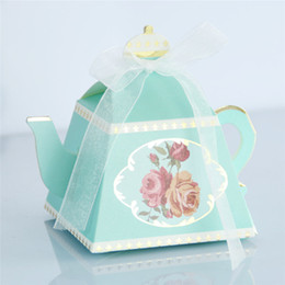 teapot party favor Australia - 100pcs New Creative Teapot Shape Sweet Candy Box With Ribbon DIY Retro Rose Printed Sugar Box Baby Shower Wedding Party Favor Gift Box