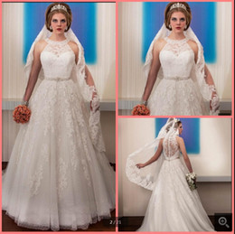$enCountryForm.capitalKeyWord Australia - 2019 new arrival white lace appliques a line wedding dress scoop neckline beading sashes sheer back sexy formal wedding gowns hot sale