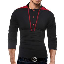 Long Shirt Men Fashion Australia - Stand Collar Long Sleeve Line Stitch Button T Shirt Collar Slim Men T-Shirt Tops Fashion Mens Tee Shirt T Shirts 3XL