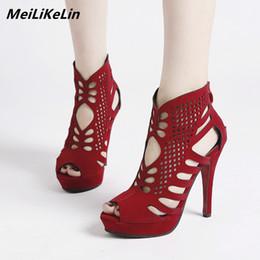 87d8ecbdc6c platform peep toe ankle boots 2019 - MeiLiKeLin Fine Hollow Peep Toe Ankle  Boots Summer Women