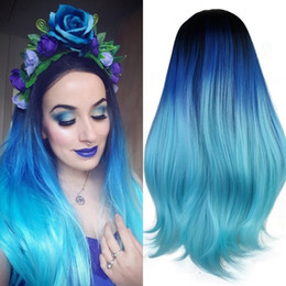 Synthetic wavy ombre hair online shopping - Long Wavy Synthetic Lace Front Wig Heat Resistant Lush Soft Black Roots Ombre Blue Bright Blue Dyed Colored Teal Hair Styles Tone